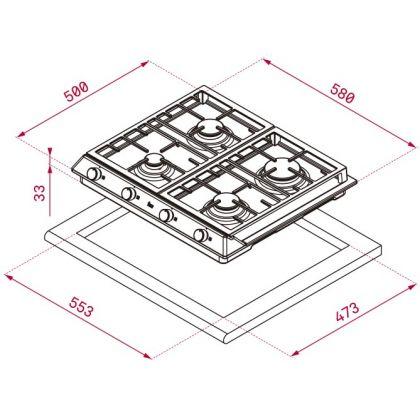 Plita incorporabila pe gaz Teka EX 60.1 4G AI AL CI, 60 cm, gratare fonta