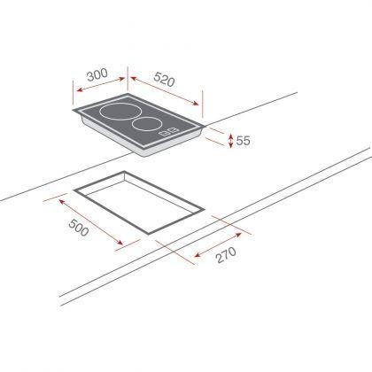 Plita incorporabila vitroceramica Teka VT TC 2P.1, 30 cm