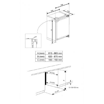 Frigider incorporabil sub blat Teka TFI3 130 D, A++