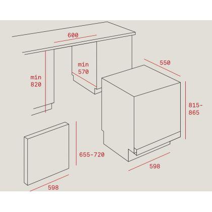Masina de spalat vase complet incorporabila Teka DW8 70 FI, 60 cm, 14 seturi, A++