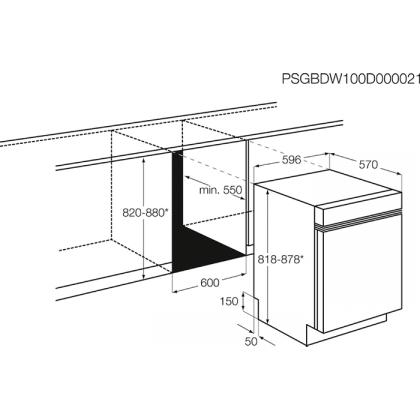 Masina de spalat vase partial incorporabila AEG FEE53600ZM, 60 cm, inverter, 5 programe, A+++
