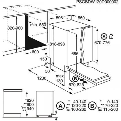 Masina de spalat vase complet incorporabila AEG FSK93705P, 60 cm, inverter, 8 programe, A+++