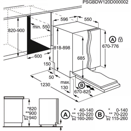 Masina de spalat vase complet incorporabila AEG FSK93800P, 60 cm, 8 programe, inverter, A++