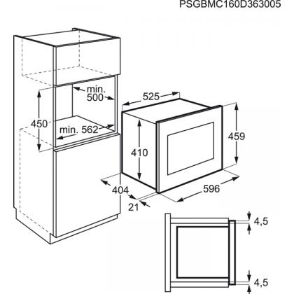 Cuptor cu microunde incorporabil AEG MBE2658D-M, inox si negru, 900 W