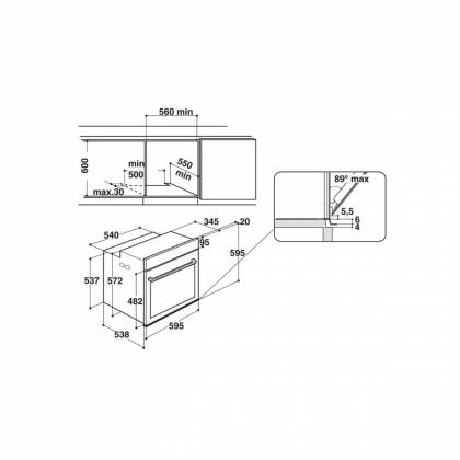 Cuptor incorporabil electric Hotpoint FI7 861 SH CF, maro, hidroliza, soft closing, 8 functii, ghidaje