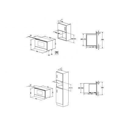 Cuptor incorporabil compact cu microunde Smeg Linea MP122N, negru 850 W, 6 functii