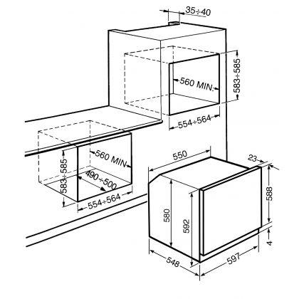 Cuptor incorporabil electric Smeg Linea SFP109B, alb, pirolitic