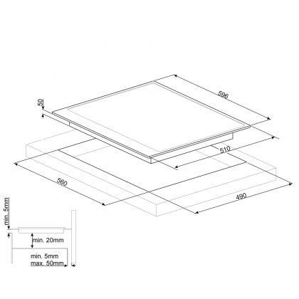 Plita incorporabila inductie Smeg Cortina PI764AO, 60 cm, rama antracit