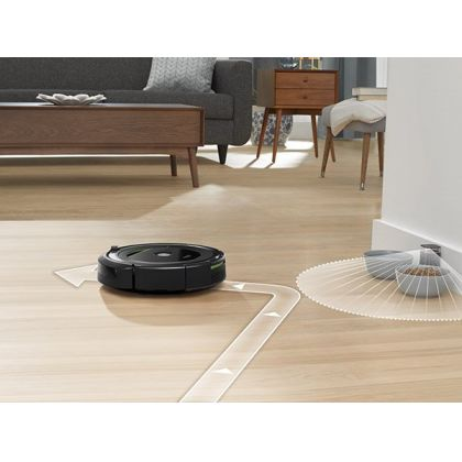 Aspirator inteligent iRobot Roomba 696, acumulator Li-ion, Antitangle, navigatie iAdapt, aplicatie iRobot Home, 100 m2