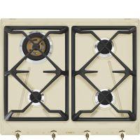 Plita incorporabila gaz Smeg Colonial SRV864POGH, 60 cm, crem cu estetica alama