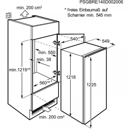 Frigider incorporabil Electrolux ERN2201BOW, A+, static
