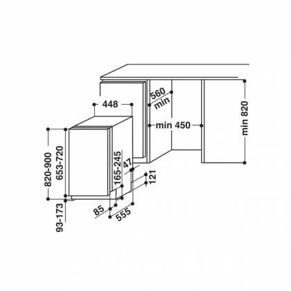 Masina de spalat vase complet incorporabila Hotpoint LSTF 9M116 CL EU, 45 cm