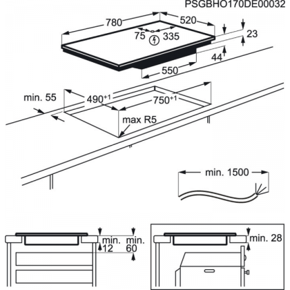 Plita incorporabila inductie pe toata suprafata AEG IAE84850FB, 78 cm, ecran TFT, Flexi Bridge