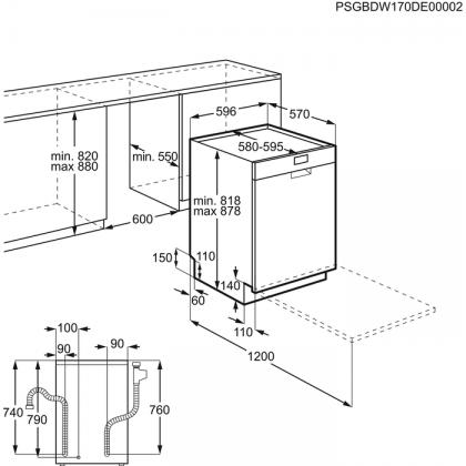 Masina de spalat vase AEG FFB53630ZW, 60 cm, alba, A+++, inverter, 13 seturi, 5 programe