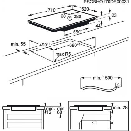 Plita incorporabila inductie pe toata suprafata Electrolux EIV744, 71 cm, conectivitate hota, functie punte