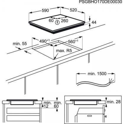 Plita incorporabila inductie Electrolux CIT60430CB, 60 cm, conectivitate hota, functie punte, retro
