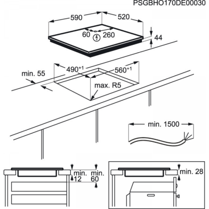 Plita incorporabila cu inductie Electrolux LIV6343, 60 cm, conectivitate hota, functie punte