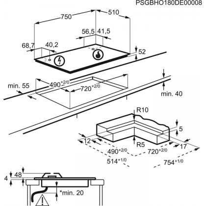 Plita incorporabila vitroceramica pe gaz Electrolux KGV7539IK, 75 cm, conectivitate hota, gratare fonta