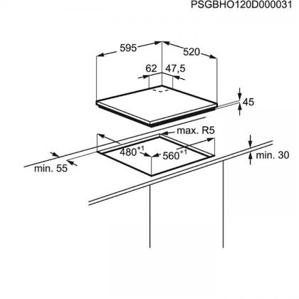 Plita incorporabila vitroceramica pe gaz Electrolux KGG6456K, 60 cm, gratare fonta, wok, neagra