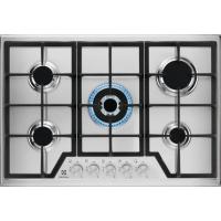 Plita incorporabila pe gaz Electrolux KGS7536SX, 75 cm, gratare fonta, wok, inox