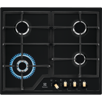 Plita incorporabila pe gaz Electrolux KGS6436RK, 60 cm, gratare fonta, wok, negru retro