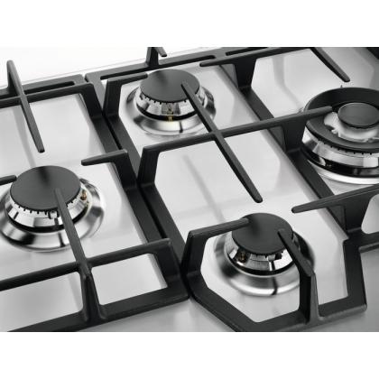 Plita incorporabila pe gaz Electrolux KGS6456SX, 60 cm, gratare fonta, wok, inox