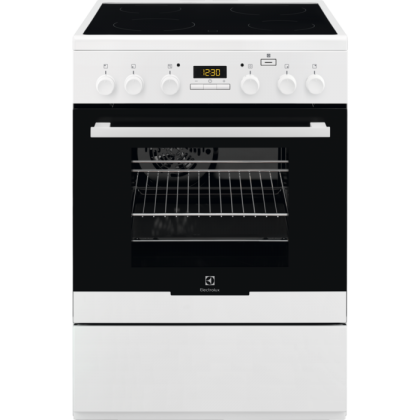 Aragaz electric Electrolux EKC64900OW, 60 cm, alb, plita vitroceramica, Plus Steam, catalitic