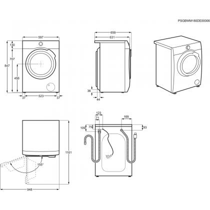Masina de spalat rufe cu uscator Electrolux PerfectCare800 EW8W261B, 10+6 kg, inverter cu magnet permanent, abur, FreshScent