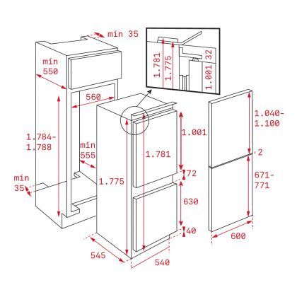 Combina frigorifica incorporabila Teka CI3 342, ventilat, A+