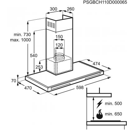 Hota semineu Electrolux EFT716X, 60 cm, inox, insertie sticla