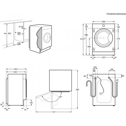 Masina de spalat rufe incorporabila Electrolux EW7F348SI, 8 kg, A+++(-50%), inverter cu magnet permanent
