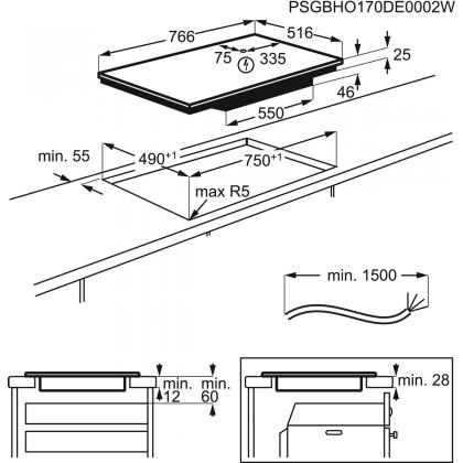 Plita incorporabila inductie AEG IAE84411XB, 77 cm, SenseBoil, conectivitate hota, rama inox