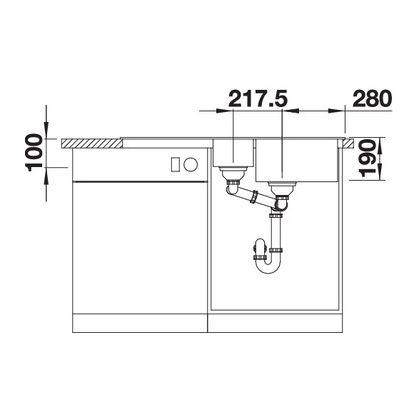 Chiuveta de bucatarie Blanco SONA 6 S silgranit, trufe 519858, 100cm