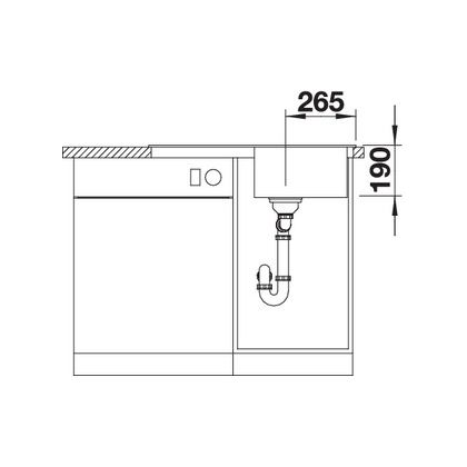 Chiuveta de bucatarie Blanco SONA 45 S silgranit, trufe, 519669, 78 cm