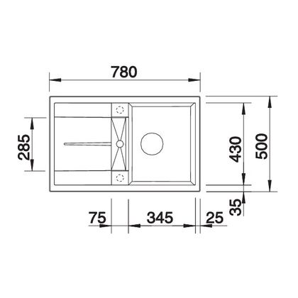 Chiuveta de bucatarie Blanco METRA 45 S silgranit, antracit, 513194, 78 cm, fara sistem Aqua Stop