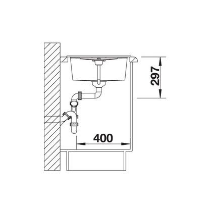 Chiuveta de bucatarie Blanco METRA 45 S silgranit, cafea, 515039, 78 cm, fara sistem Aqua Stop