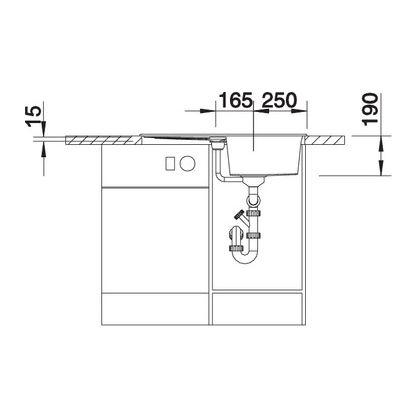 Chiuveta de bucatarie Blanco METRA 45 S silgranit, gri piatra, 518869, 78 cm, fara sistem Aqua Stop