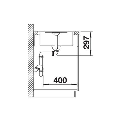 Chiuveta de bucatarie Blanco METRA 45 S COMPACT silgranit, gri piatra, 519562, 68 cm, fara sistem Aqua Stop