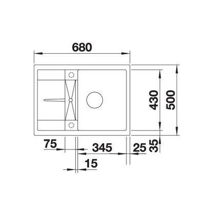 Chiuveta de bucatarie Blanco METRA 45 S COMPACT silgranit, nuc, 521884, 68 cm, fara sistem Aqua Stop