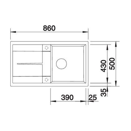 Chiuveta de bucatarie Blanco METRA 5 S silgranit, gri piatra, 518872, 86 cm