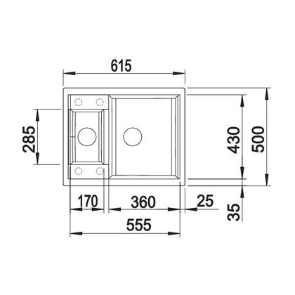 Chiuveta de bucatarie Blanco METRA 6 silgranit, trufe, 517352, 61,5 cm