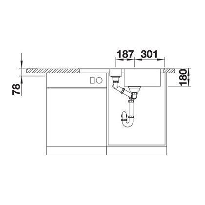 Chiuveta de bucatarie BLANCO FAVOS 6 S silgranit, antracit, 519075, 86 cm