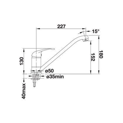 Baterie de bucatarie Blanco DARAS, silgranit, gri perlat, 520735