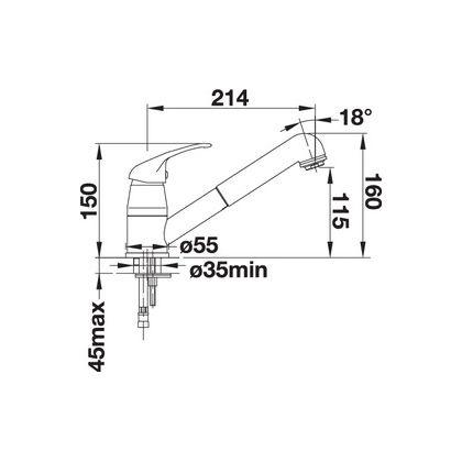 Baterie de bucatarie Blanco DARAS-S, silgranit, alumetalic, 517733