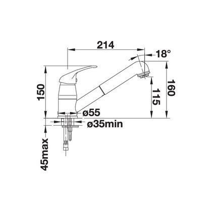 Baterie de bucatarie Blanco DARAS-S, silgranit, gri piatra, 518792