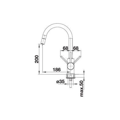 Baterie de bucatarie Blanco MIDA-S, silgranit, gri piatra, 521462