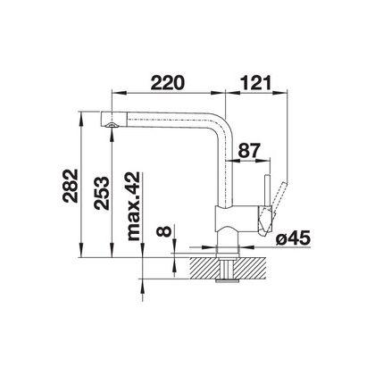 Baterie de bucatarie Blanco LINUS, silgranit, gri piatra, 518814