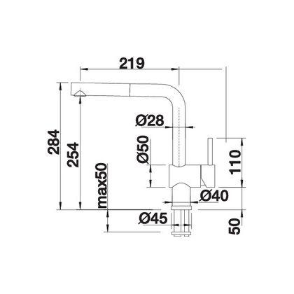Bateria de bucatarie Blanco LINUS-S, Silgranit, gri piatra, 518813, extractabil