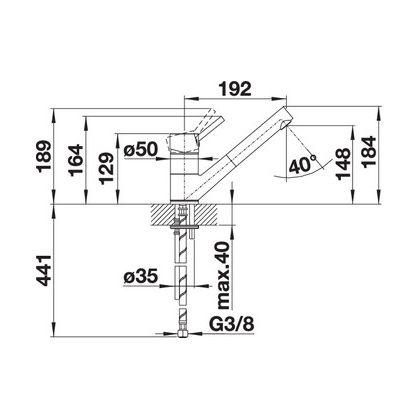 Bateria de bucatarie Blanco ANTAS-S SILGRANIT / CROM, nuc, 521703, extractabil