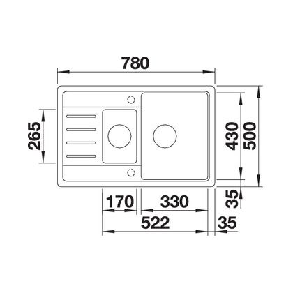 Chiuveta de bucatarie BLANCO LEGRA 6 S Compact, Silgranit, alumetalic, 521303, 78 cm